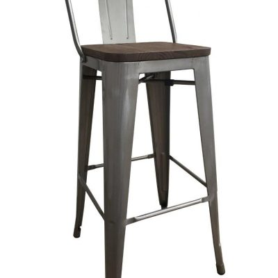 Cafe Style High Stool - Gun Metal Grey